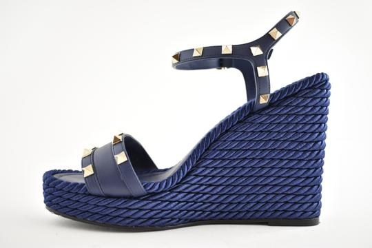 Valentino Studded Pointed Toe Leather Ankle Strap Stiletto blue Wedges Image 7