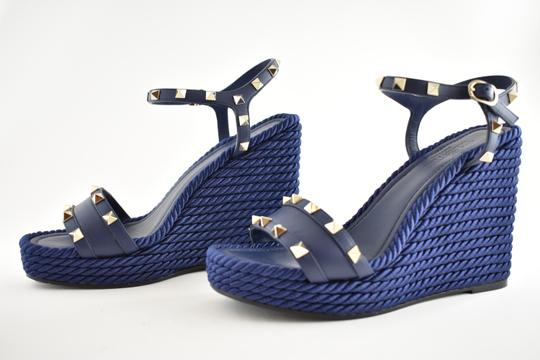 Valentino Studded Pointed Toe Leather Ankle Strap Stiletto blue Wedges Image 8