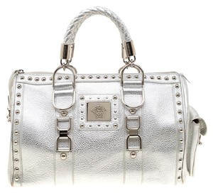Versace Leather Satin Metallic Satchel in Silver