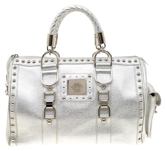 Versace Leather Satin Metallic Satchel in Silver Image 0