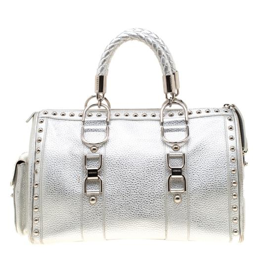 Versace Leather Satin Metallic Satchel in Silver Image 1