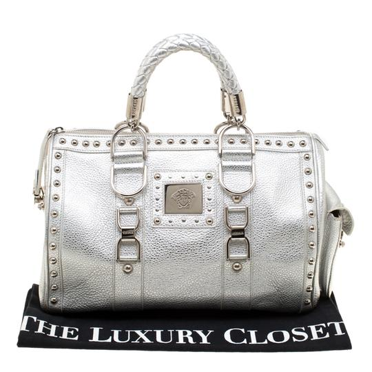 Versace Leather Satin Metallic Satchel in Silver Image 10