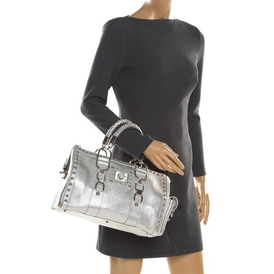 Versace Leather Satin Metallic Satchel in Silver Image 2