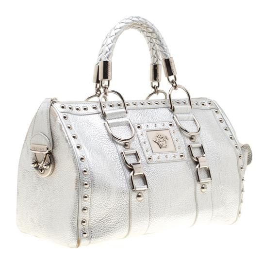 Versace Leather Satin Metallic Satchel in Silver Image 3