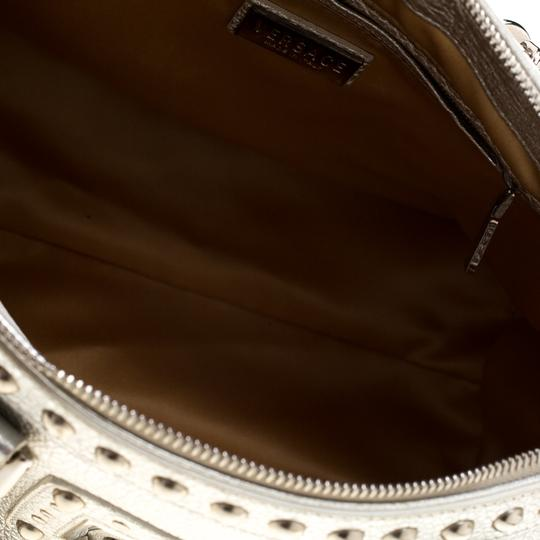 Versace Leather Satin Metallic Satchel in Silver Image 4
