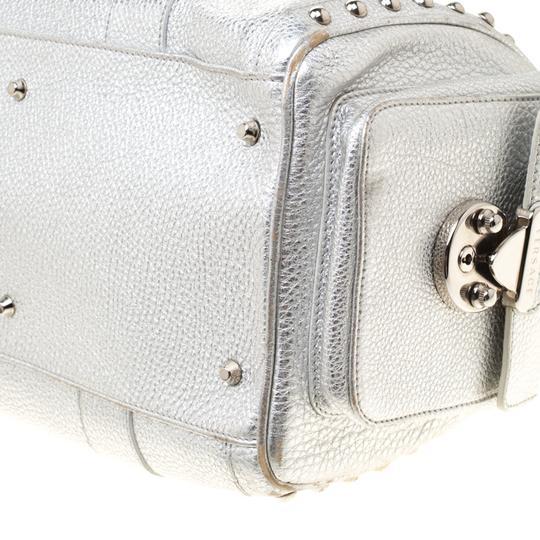 Versace Leather Satin Metallic Satchel in Silver Image 6