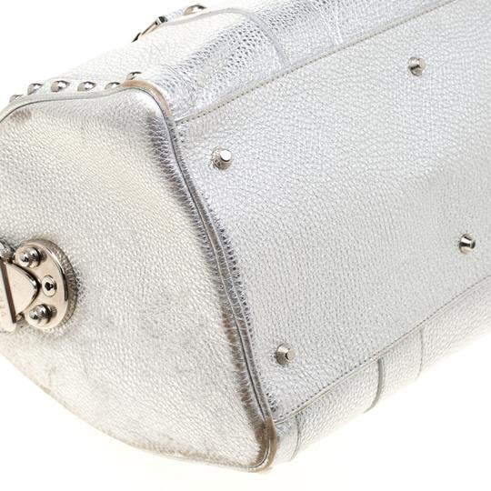 Versace Leather Satin Metallic Satchel in Silver Image 7