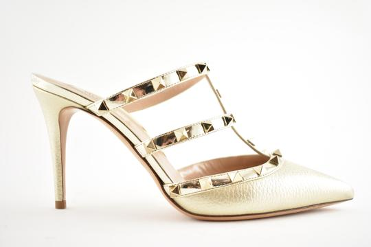 Valentino Studded Pointed Toe Leather Ankle Strap Stiletto gold Pumps Image 1