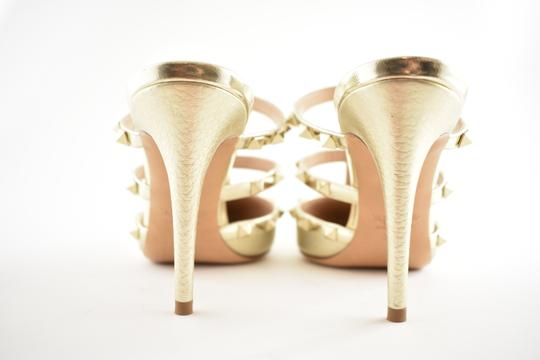 Valentino Studded Pointed Toe Leather Ankle Strap Stiletto gold Pumps Image 10