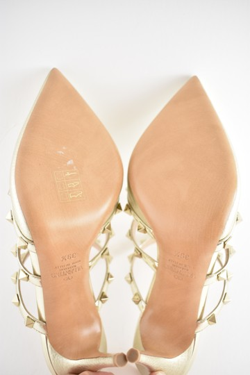 Valentino Studded Pointed Toe Leather Ankle Strap Stiletto gold Pumps Image 11