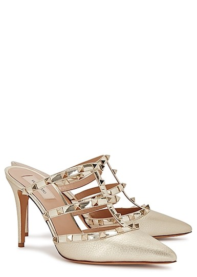 Valentino Studded Pointed Toe Leather Ankle Strap Stiletto gold Pumps Image 2