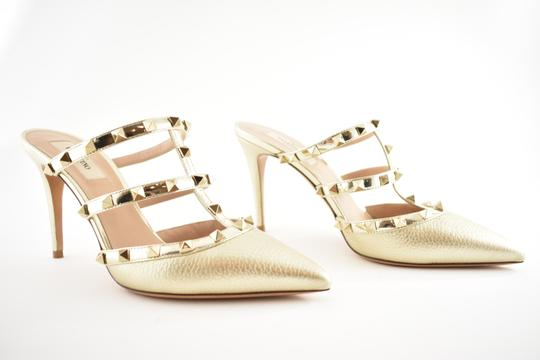 Valentino Studded Pointed Toe Leather Ankle Strap Stiletto gold Pumps Image 3