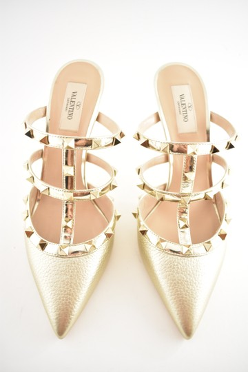 Valentino Studded Pointed Toe Leather Ankle Strap Stiletto gold Pumps Image 5