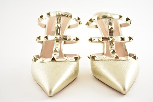 Valentino Studded Pointed Toe Leather Ankle Strap Stiletto gold Pumps Image 6
