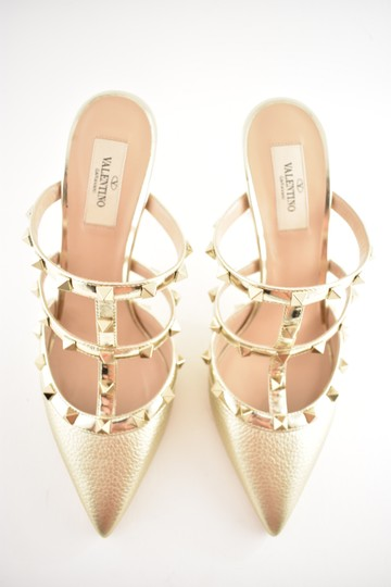 Valentino Studded Pointed Toe Leather Ankle Strap Stiletto gold Pumps Image 7