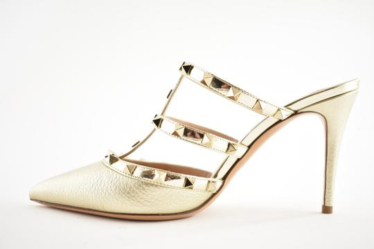 Valentino Studded Pointed Toe Leather Ankle Strap Stiletto gold Pumps Image 8