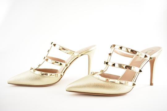 Valentino Studded Pointed Toe Leather Ankle Strap Stiletto gold Pumps Image 9