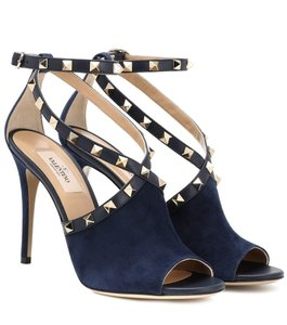 Valentino Studded Pointed Toe Leather Ankle Strap Stiletto blue Pumps