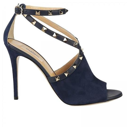 Valentino Studded Pointed Toe Leather Ankle Strap Stiletto blue Pumps Image 2