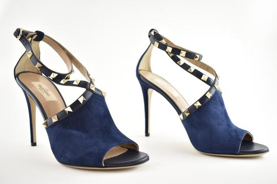 Valentino Studded Pointed Toe Leather Ankle Strap Stiletto blue Pumps Image 3