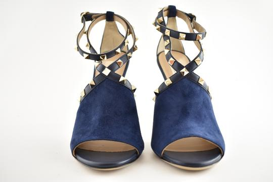 Valentino Studded Pointed Toe Leather Ankle Strap Stiletto blue Pumps Image 4