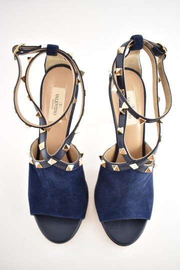 Valentino Studded Pointed Toe Leather Ankle Strap Stiletto blue Pumps Image 5