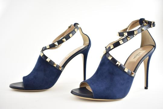 Valentino Studded Pointed Toe Leather Ankle Strap Stiletto blue Pumps Image 7