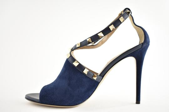 Valentino Studded Pointed Toe Leather Ankle Strap Stiletto blue Pumps Image 6