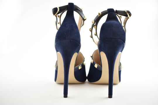 Valentino Studded Pointed Toe Leather Ankle Strap Stiletto blue Pumps Image 8