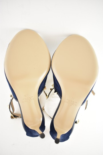 Valentino Studded Pointed Toe Leather Ankle Strap Stiletto blue Pumps Image 9