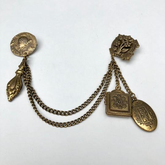 Vintage Victorian chatelaine chain brooch pin Image 1