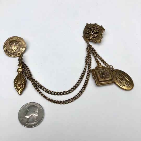 Vintage Victorian chatelaine chain brooch pin Image 2