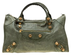 Balenciaga Leather Studded Tote in Green