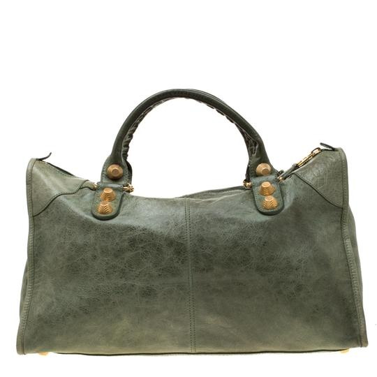 Balenciaga Leather Studded Tote in Green Image 1
