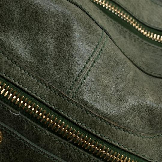 Balenciaga Leather Studded Tote in Green Image 10