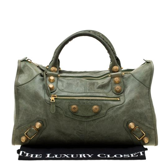 Balenciaga Leather Studded Tote in Green Image 11
