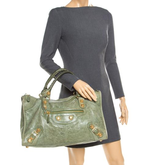 Balenciaga Leather Studded Tote in Green Image 2
