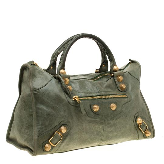 Balenciaga Leather Studded Tote in Green Image 3