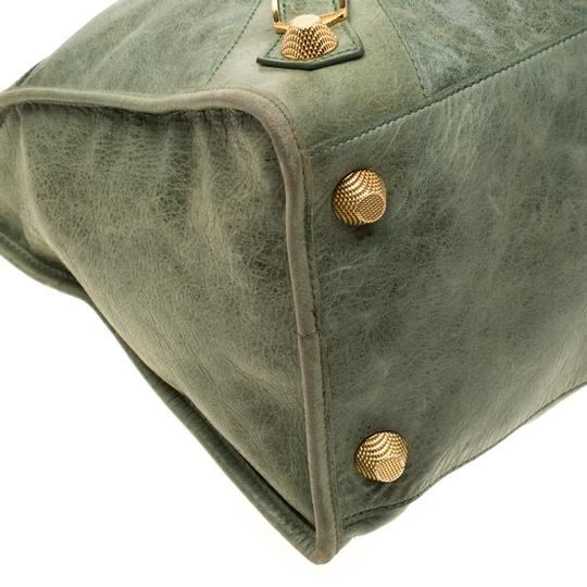Balenciaga Leather Studded Tote in Green Image 5