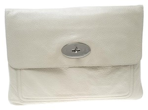 Mulberry Leather Cream Clutch