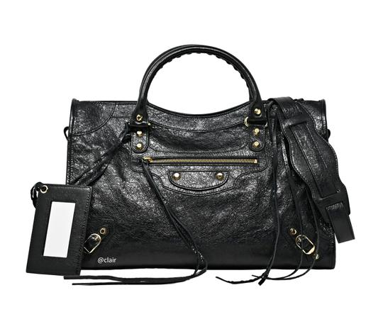 Balenciaga Leather Satchel in Black Image 0