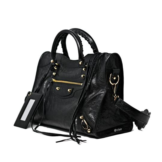 Balenciaga Leather Satchel in Black Image 1
