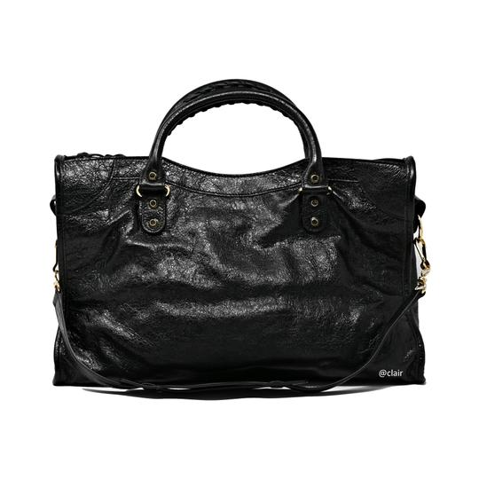 Balenciaga Leather Satchel in Black Image 2