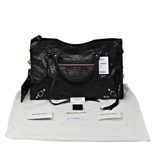 Balenciaga Leather Satchel in Black Image 4