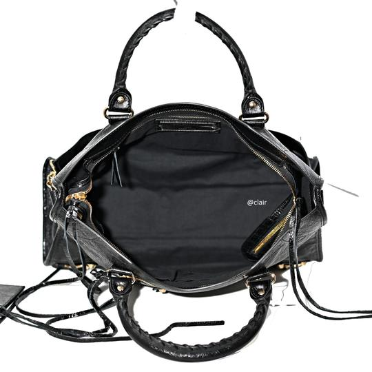 Balenciaga Leather Satchel in Black Image 5