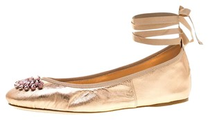 Jimmy Choo Leather Crystal Embellished Ankle Strap Metallic Flats