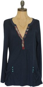 Anthropologie Calantha Henley Jersey Theory People Top Blue