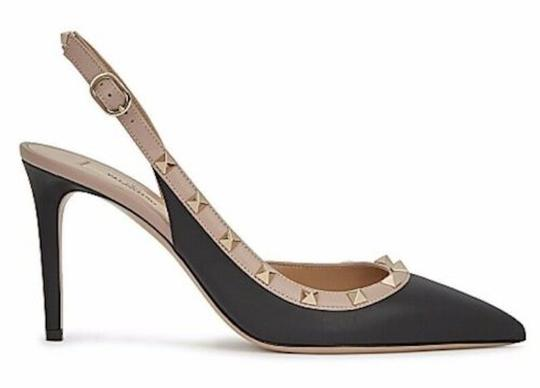 Valentino Studded Pointed Toe Leather Ankle Strap Branded Insole black Pumps Image 0