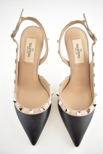 Valentino Studded Pointed Toe Leather Ankle Strap Branded Insole black Pumps Image 5