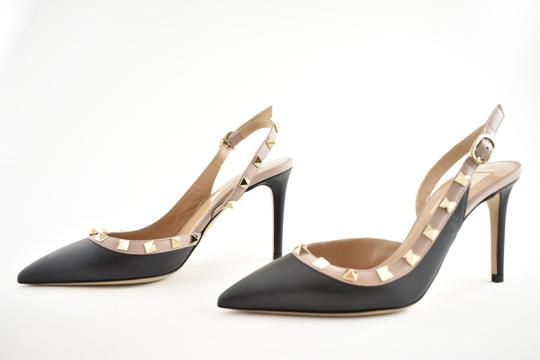 Valentino Studded Pointed Toe Leather Ankle Strap Branded Insole black Pumps Image 7